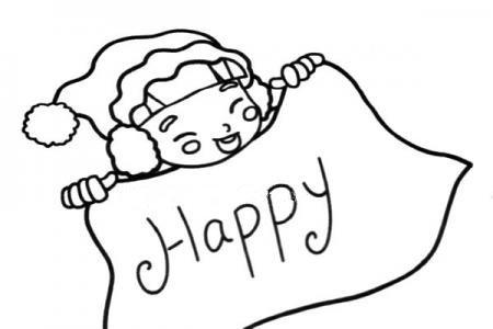 happy 圣诞节简笔画图片