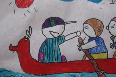 端午节习俗儿童画-划龙舟