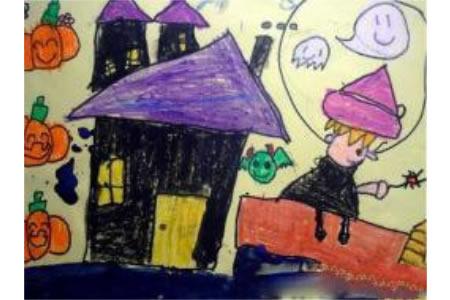 儿童画万圣节图片-万圣节的捣蛋鬼
