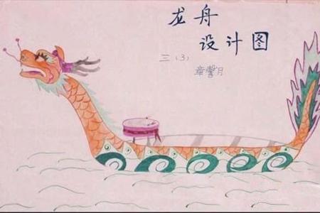 三年级端午节儿童画作品:龙舟设计图
