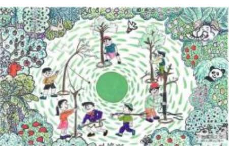 关于植树节的绘画-我们都是环保小卫士
