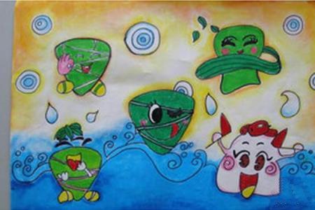 端午节粽子儿童画-粽子的可爱造型