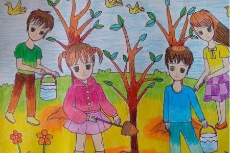 劳动节种树记有关劳动节的主题画图片欣赏