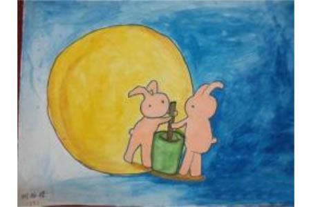 玉兔捣药,中秋节儿童绘画作品