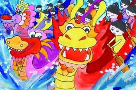 端午节赛龙舟绘画-端午节的龙舟赛