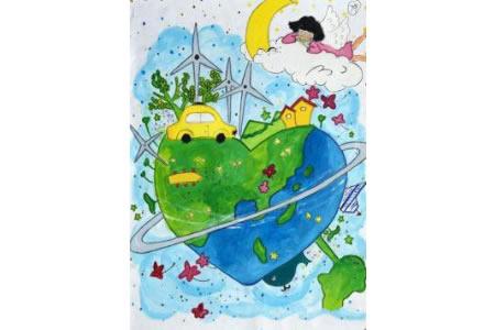 绿色之心儿童画植树节图片赏析