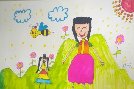 和妈妈一起春游38妇女节画画作品合集
