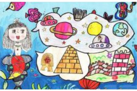 儿童画美人鱼的梦