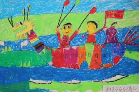 我们的龙舟队端午节划龙舟绘画作品欣赏