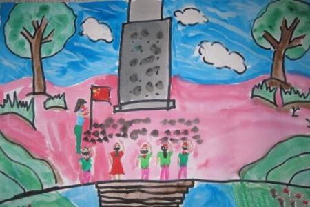 一年级清明节主题绘画作品之拜祭革命英雄