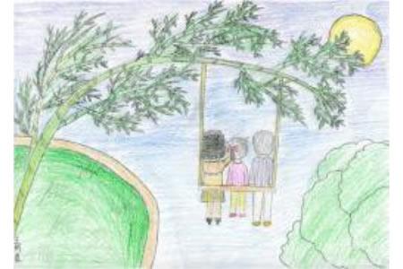 中秋赏月,欢庆中秋节儿童作品