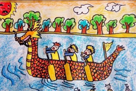 端午节划龙舟儿童画