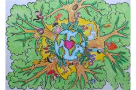 让世界充满绿色小学生植树节画画图片