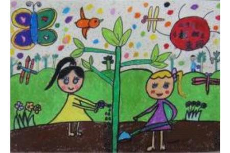 小学生植树节绘画作品之我们爱种树