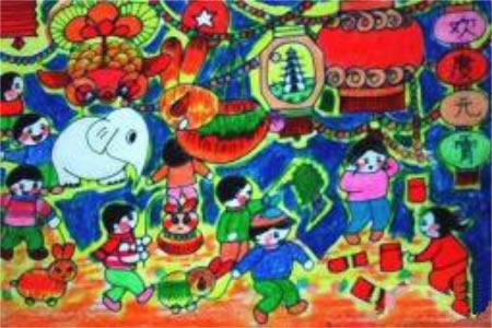 欢度元宵节儿童画作品欣赏