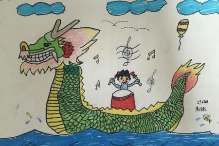 热闹的龙舟赛端午节彩色画作品欣赏