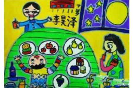 中秋节赏月儿童画-今晚月亮格外的圆