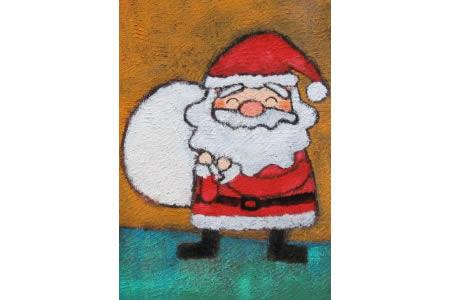 六一儿童节蜡笔画-慈祥的圣诞老人