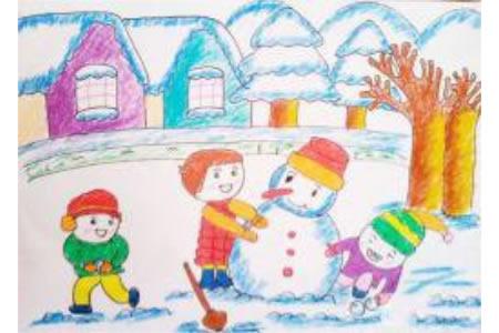 关于冬天的儿童画作品欣赏