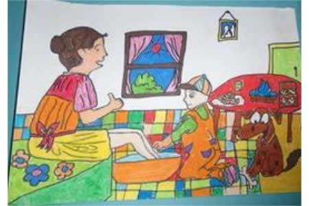 我给妈妈洗脚,重阳节孝顺父母儿童画作品