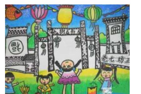 元宵节儿童画作品欣赏:三坊七巷看花灯