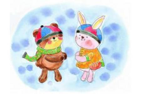 儿童画小熊和小兔拜年