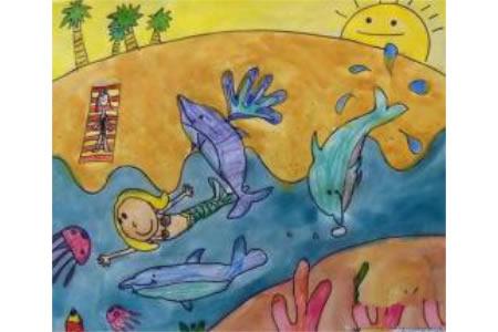 海豚和美人鱼海底世界画画图片分享