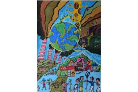 植树节画教师范画之还地球一片绿