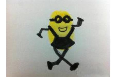 小黄人手指画画法