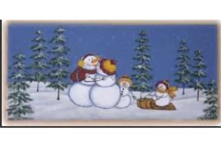 雪人一家子有关冬天的图画