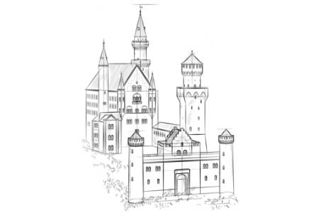 如何画新天鹅城堡