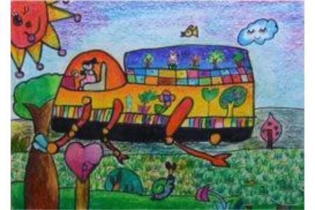 环保种树车创意植树节蜡笔画作品欣赏