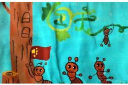国庆节题材儿童画作品欣赏-蚂蚁也爱国