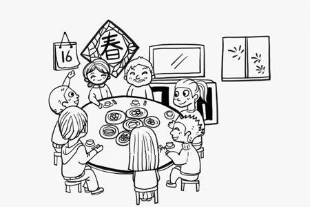 春节一家团聚的简笔画图片