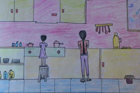 五一劳动节儿童绘画-今天我洗碗