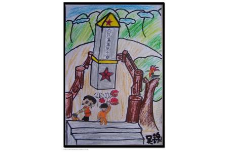 清明节扫墓的儿童画-我们来给英雄扫墓