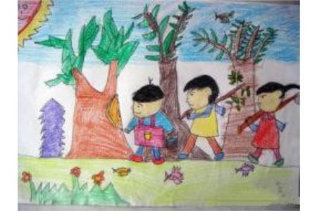 儿童彩色铅笔画图片-大伙儿来植树