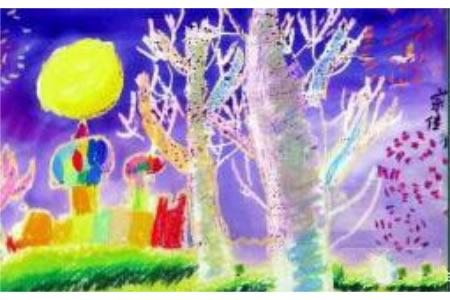 中秋节主题儿童画-一轮圆月