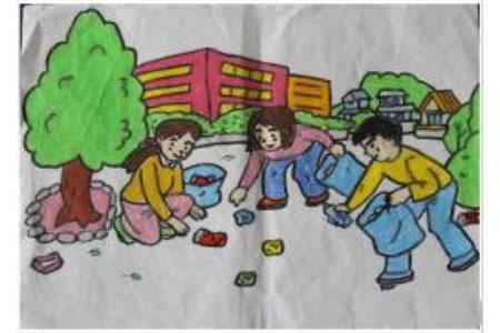 小学生学雷锋日绘画作品之捡垃圾