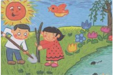 春天为主题的儿童画-植树的好季节
