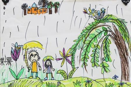 清明节踏青儿童画图片-感受春雨