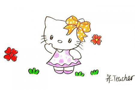 kitty猫简笔画怎么画