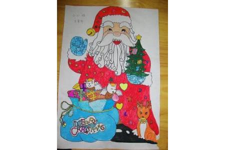圣诞节儿童画 幸福的圣诞老人
