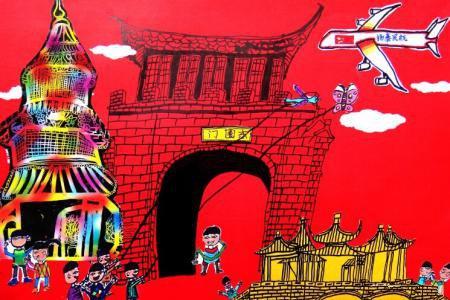 放风筝,重阳节的习俗儿童画作品欣赏