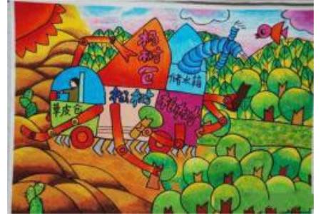 新型植树造林车五年级植树节创意画