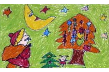 圣诞节儿童画 星空下的圣诞老人