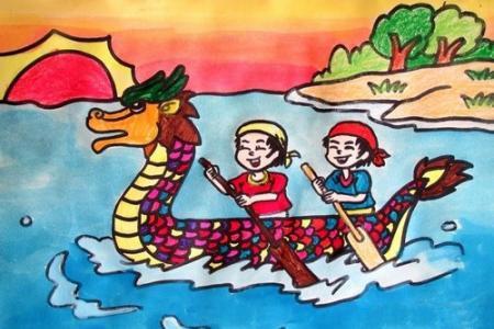 端午节创意儿童画-我和好友泛舟去咯