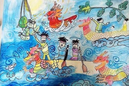 必胜龙舟队端午节画画图片分享