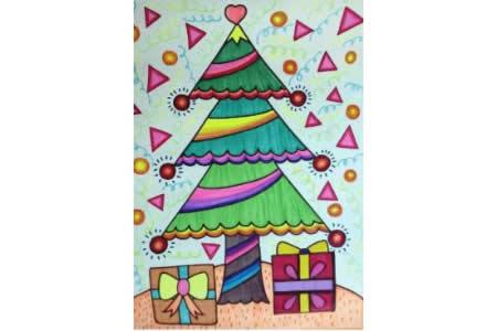 圣诞节儿童画 漂亮的圣诞树