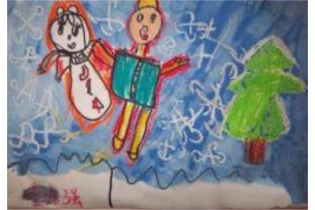 冬天下雪的儿童画-假如我会飞